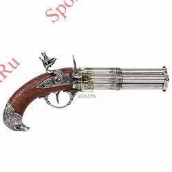 Пистолет кремневый четырехдульный, Франция 18в., Denix 1307Пистолет кремневый четырехдульный, Франция 18в., Denix 1307