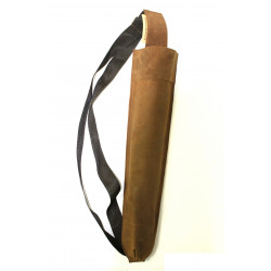 Колчан заспинный Традиция 2 из замши коричневый